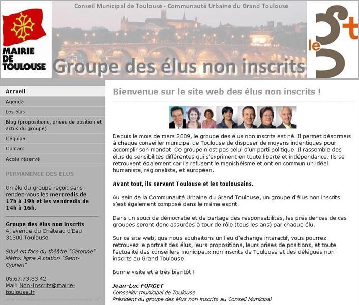 Page web du Groupe des Elus Non Inscrits
